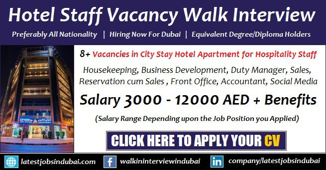 City Stay Hotel Dubai Walk in Interview For Hospitality Staff